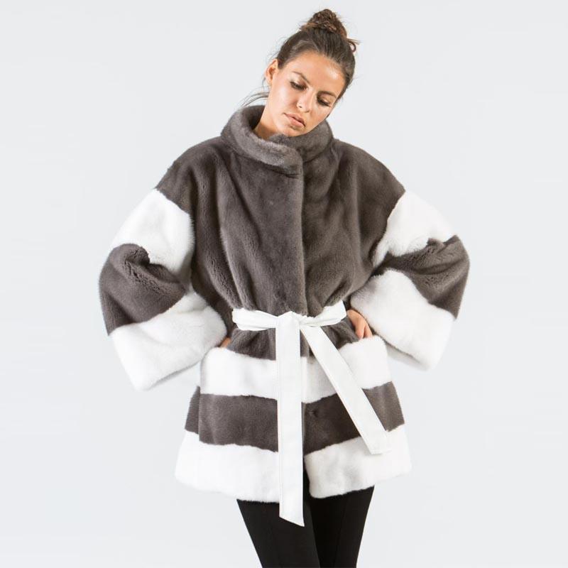 Europäische Mode Kontrastfarbe Winter Pelzmäntel Echt aus Natur Nerz Kreative Design Taille Bondage Warme Übermacker Mädchen Frauen Faux