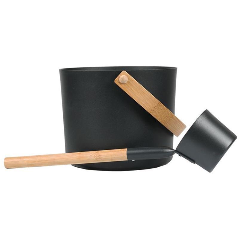 Luxurious Finnish Sauna Aluminum Bucket With Long Handle Spoon Set Matching Ladle Barrel Accessories