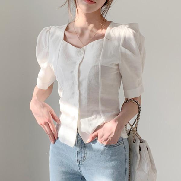 Corea del Sur 2021 Primavera y verano moda estilo extraño collar cuadrado solo bocadillo de manga burbuja delgada media manga camisa blusa