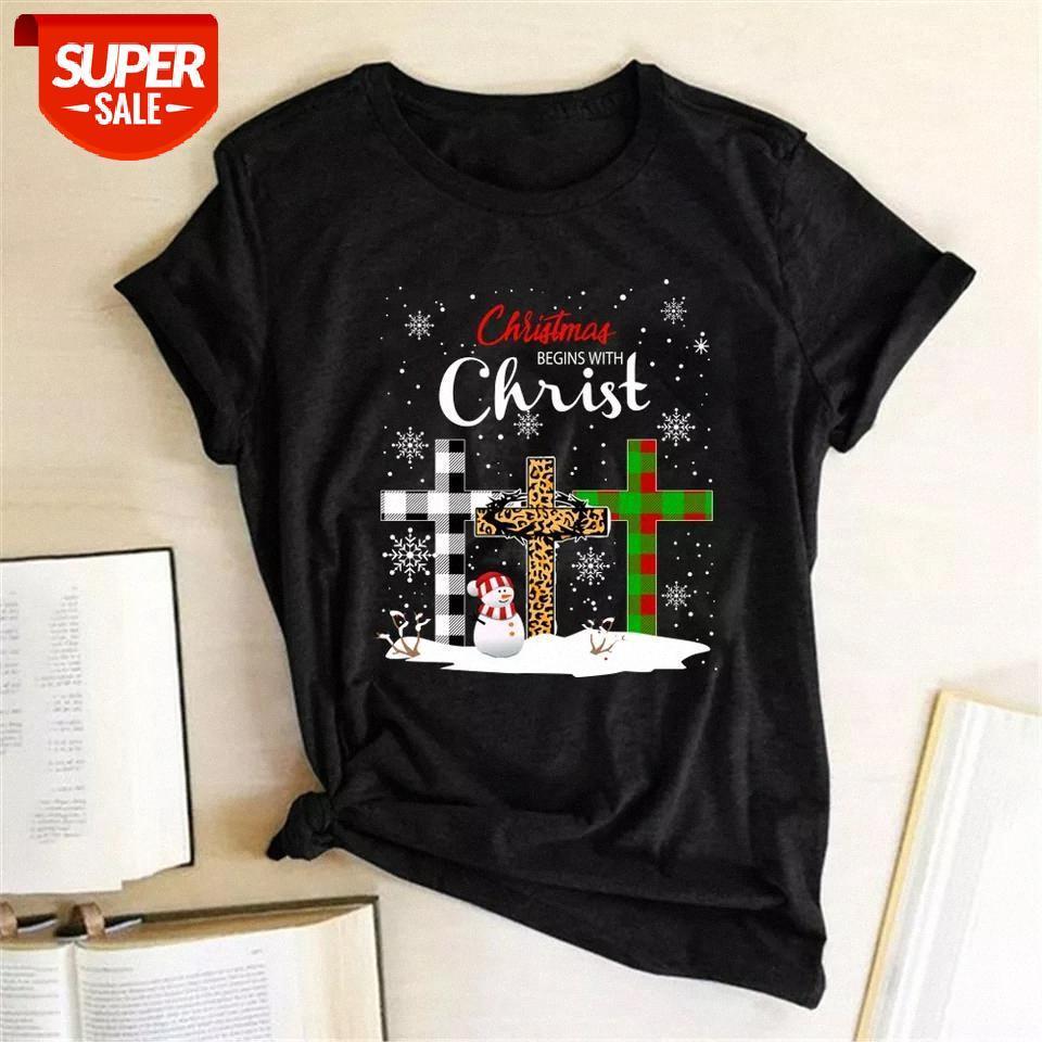 T-shirt Chrismas Mesih Baskılı T-Shirt ile Başlıyor Kadın Yaz Estetik Giysi Gevşek Tişörtleri Moda Grafik Tees Streetwear Parçası # 724m