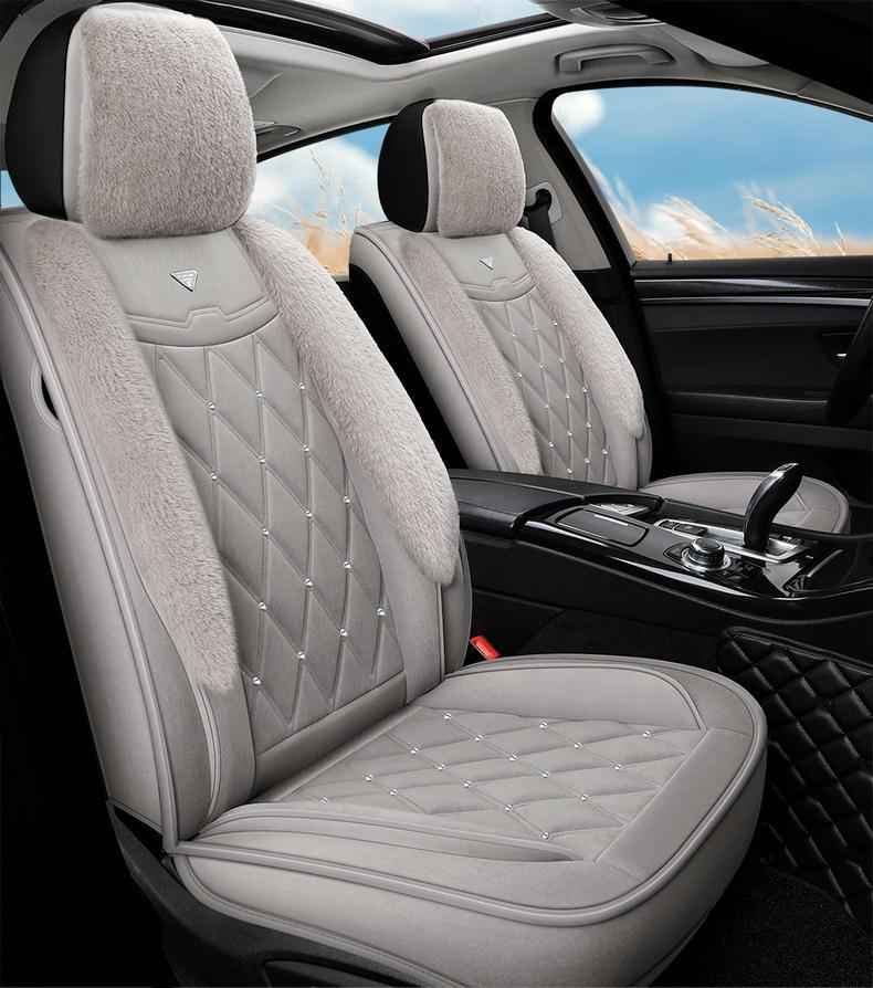 Araba Aksesuar koltuk kapağı Sedan SUV Dayanıklı Yüksek Kaliteli Deri Evrensel Beş Koltuklar Set Yastık Ön ve Arka Kapakları Dahil Tam Kaplı Gri Tasarım AA78