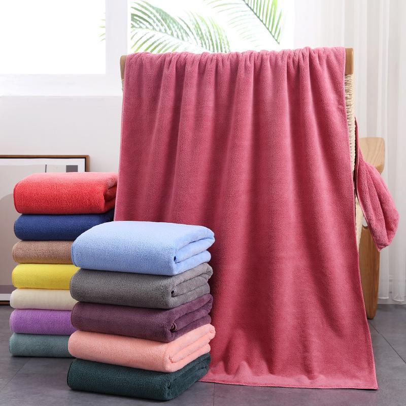Towel Fiber Coral Plush Thickened Bath Fast Drying Hair Beach 70 * 140