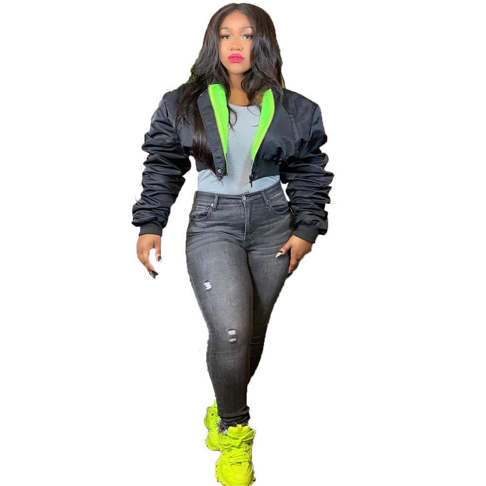 النيون الأخضر أسود اللون سد الشتاء أسفل سترة المرأة معطف دافئ زائد الحجم مكدسة طويلة الأكمام أبلى اقتصاص ستر 210519