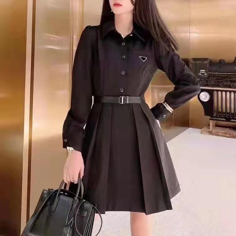 Mulheres Blazers Pegadas Saia Com Botão Letras Bronze Ladge Slim Cinto Vestido Camisas Das Mangas Longa Outono Spring Style Vestidos