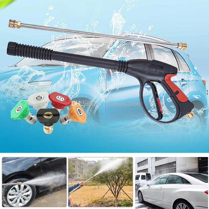 Fast Shipping Wholesale 16Pcs/Lot Pressure Washer Gun 4000 PSI Power Spray Car Wash Gun With M22-14mm Thread 21 Inch Extension Wand And 5 Nozzle Tips