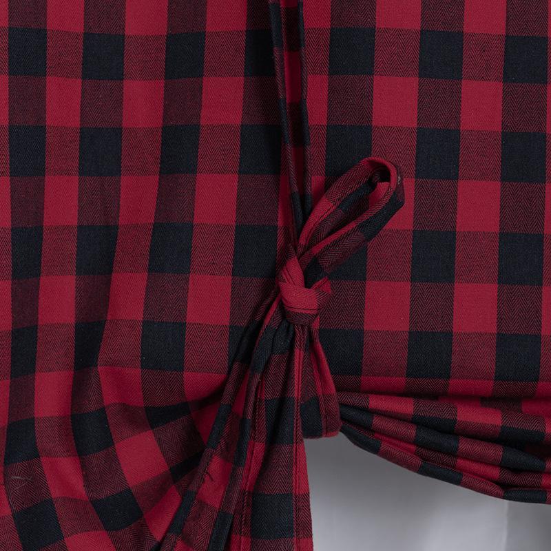 Attachez le rideau de fenêtre de ferme gingham de gingham à carreaux de gingham de tablier de tache de buffle 42x63 'rouge 1877 v2