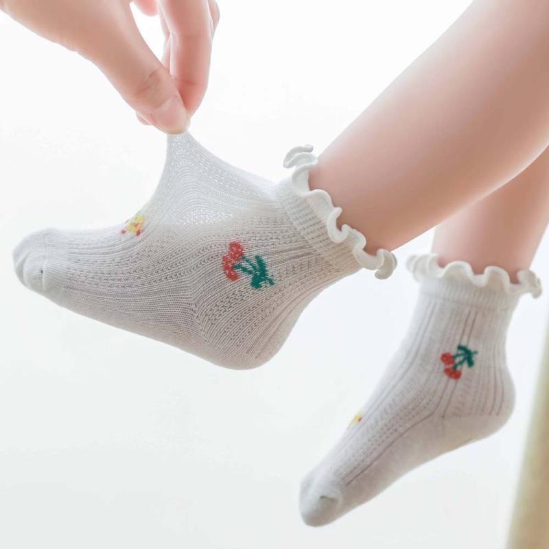 아기 양말 달콤한 벚꽃 꽃 프린트 짧은 태어난 소녀 귀여운 통기성 메쉬 면화 프릴 느슨한 입 튜브