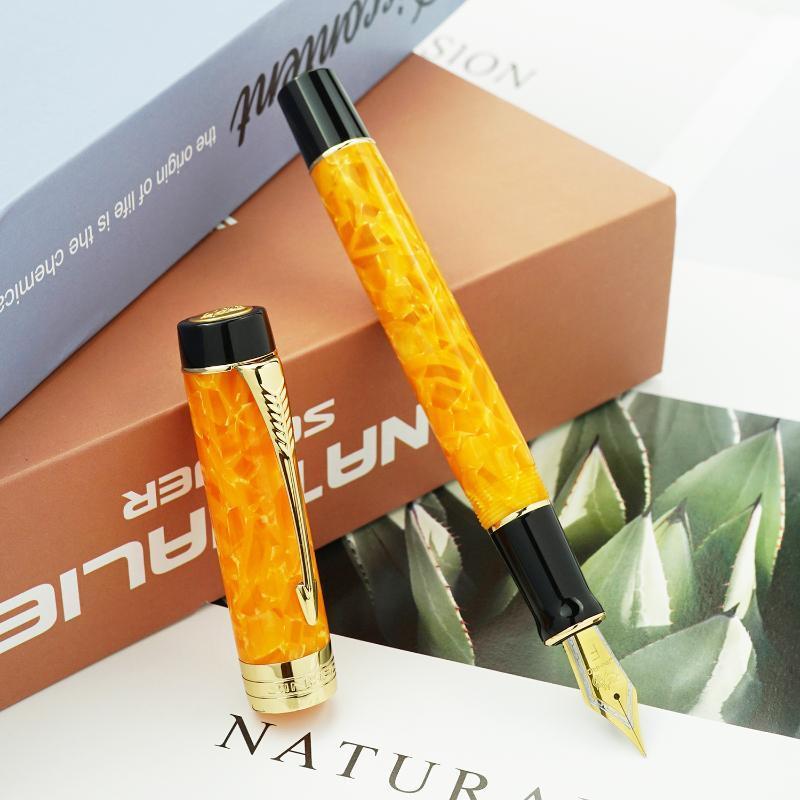 Jinhao 100 centenário laranja resina fonte caneta seta clipe ef / f / m / bent nib com conversor escrevendo negócios de escritório de escritório penas de tinta