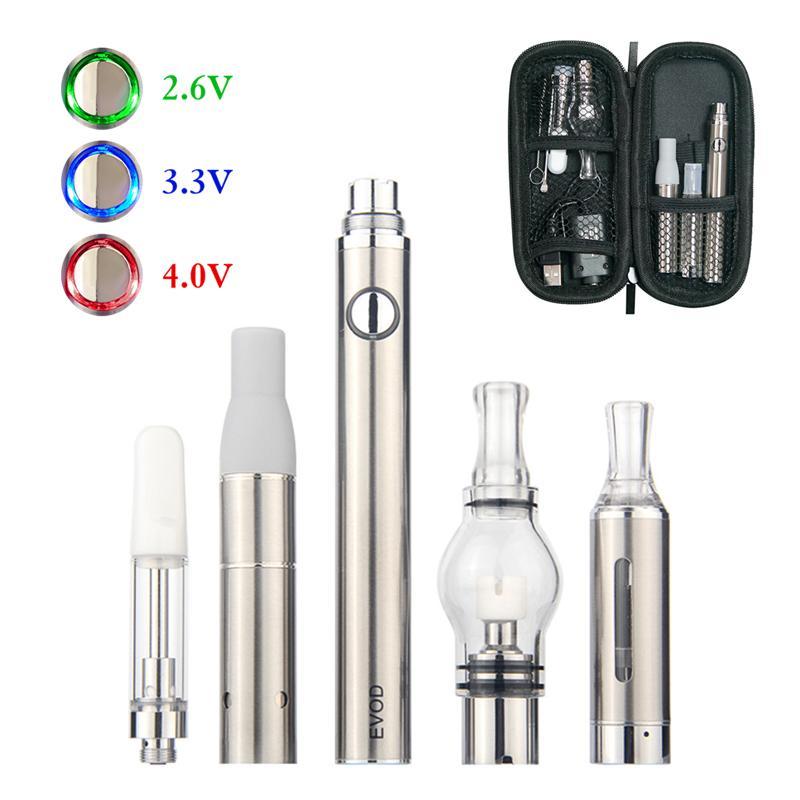 Evod 4 em 1 Tensão variável Vaporizador Pen Starter Kits para Herb Seco Cera Dab Espesso 4in1 pré-aquecimento VV VAPER