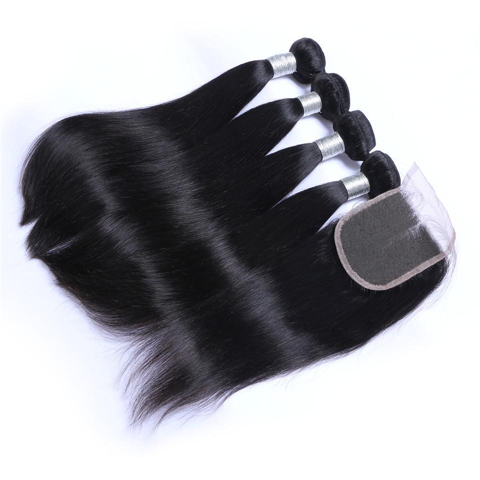 브라질 스트레이트 인간의 머리카락은 폐쇄가없는 4 번 묶음 무료 중간 3 부분 이중 위사 염색형 표백 가능한 100G / PC DHL
