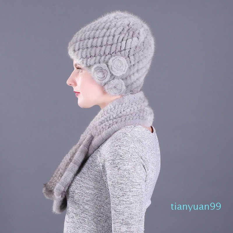 Mulheres envelhecidas médias e idosas Mink de pele de grama de pele lenço quente no inverno espessado chapéu mãe para os idosos no inverno
