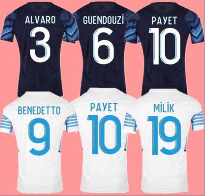 21 22 Maglia da calcio Olympique De Marseille 2021 Maglia da calcio 2022 OM MILIK CUISANCE BENEDETTO KAMARA THAUVIN PAYET ALVARO soccer jersey