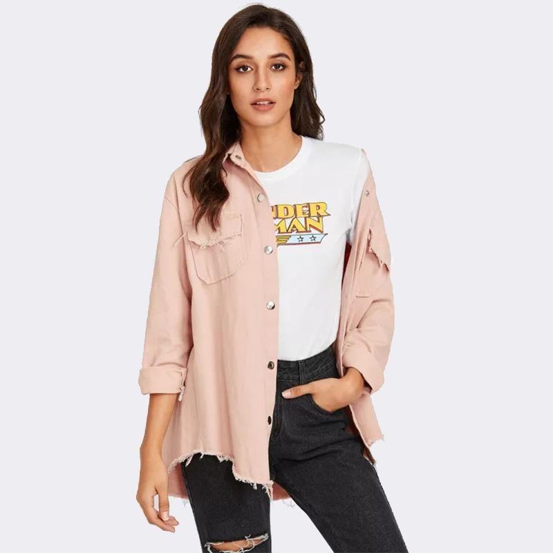 Mujeres chaquetas cortas denim abrigos 4colorscolors 2021 primavera damas bolsillos moda delgada Outweares mujeres