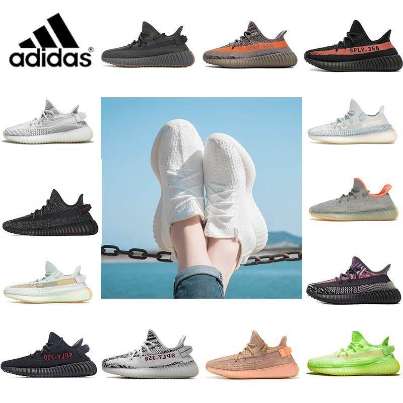 Adidas Yeezy Boost 350 V2 Kanye West Running shoes Static Refective 반사 신발 저렴한 Belgua 2.0 세미 냉동 노란색 신발 고품질 디자이너 남성 여성 트레이너 스니커즈 유로 36-47