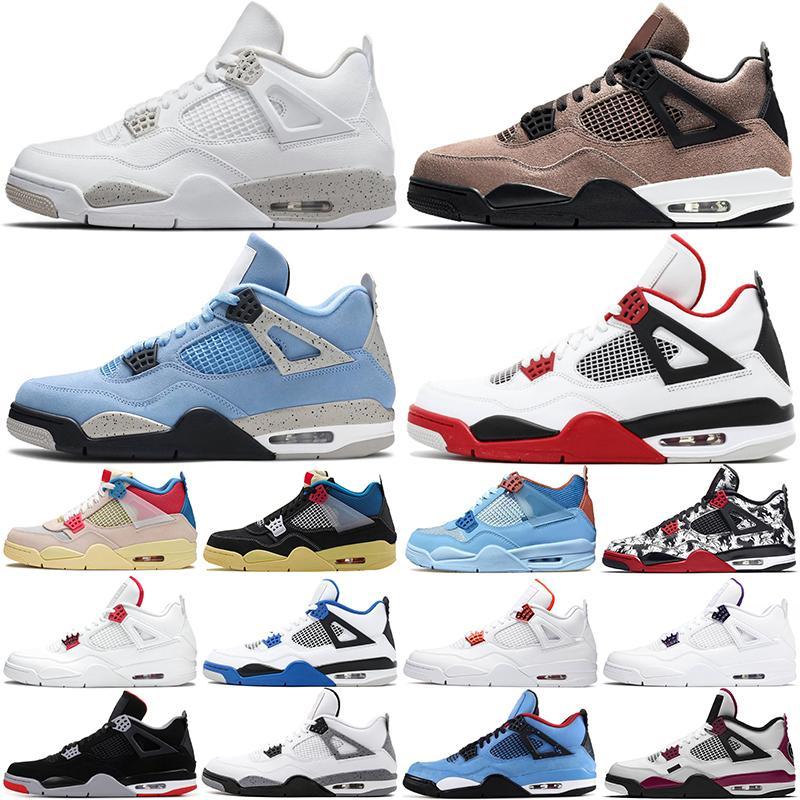 air jordan retro 4s aj4 مع صندوق الجامعة الأزرق 4 أحذية كرة السلة رجل jumpman 4 ثانية بيضاء أوريو يونيون الجوافة توب تاوب في الهواء الطلق الرجال الرياضة رياضة المدربين