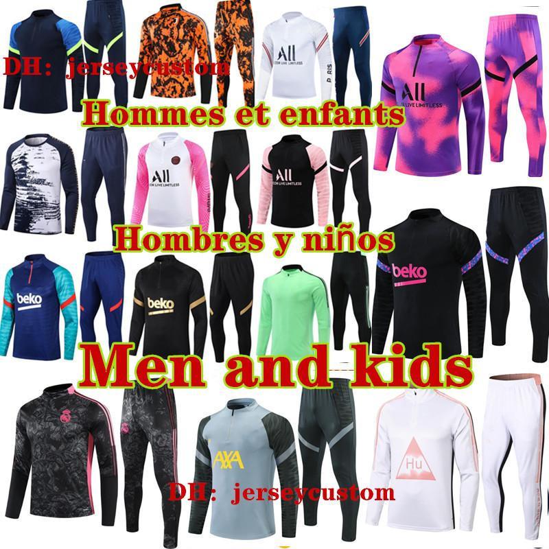 Top barcelona real madrid psg france ajax marseille tottenham manchester city liverpool arsenal Atletico Madrid kids football kits 2020 2021 soccer tracksuit suit