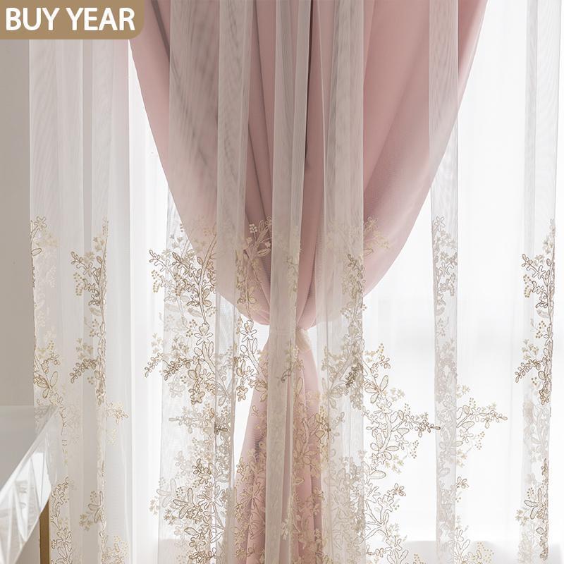 Vorhangdrapes Europäischen Stil Vorhänge für Wohnzimmer Schlafzimmer Licht Luxus Rosa Prinzessin Spitze Bildschirm Französisch Fenster Tüll