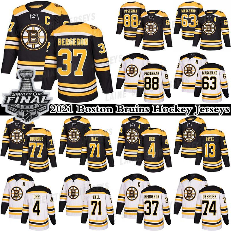 Boston Bruins Hockey Jerseys 37 Patrice Bergeron 88 David Pastrnak 63 Brad Marchand 71 Taylor Hall 17 Nick Foligno Jersey