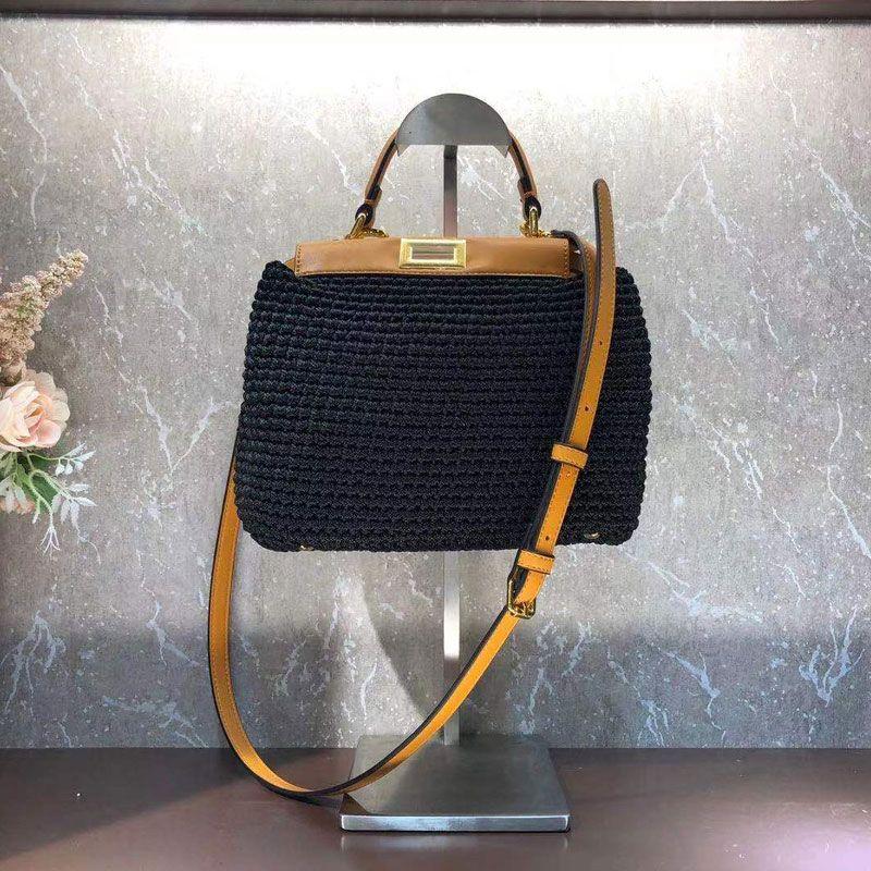 Kleine Handtasche Einkaufstasche Baumwollgewinde Rindsleder Klassische Quadratische Twist-Sperre Innenraum Fach Reißverschluss Abnehmbare Schultergurt Crossbody Taschen