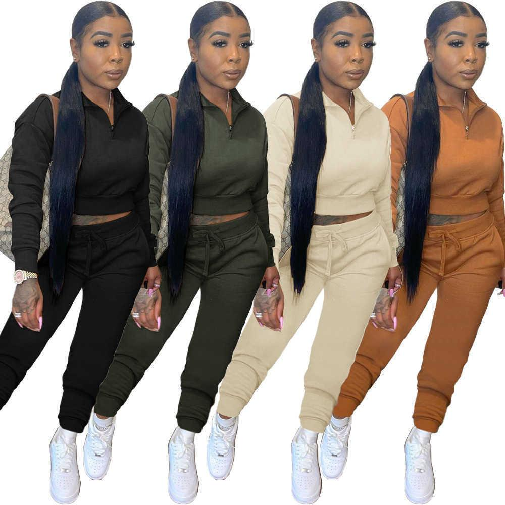 2021 Fall Winter WomenTwo Piece Tracksuits Casual Zipper Polo-neck Long Sleeve Sweatshirt And Drawstring Jogger Pant Female Outfit