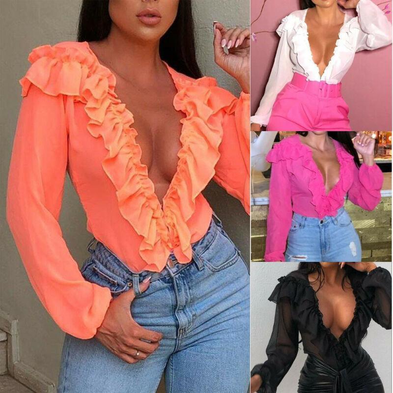 Donne manica lunga a maniche lunghe in chiffon camicetta V Neck Casual Lady Office T-shirt Tops Camicette da donna Camicie