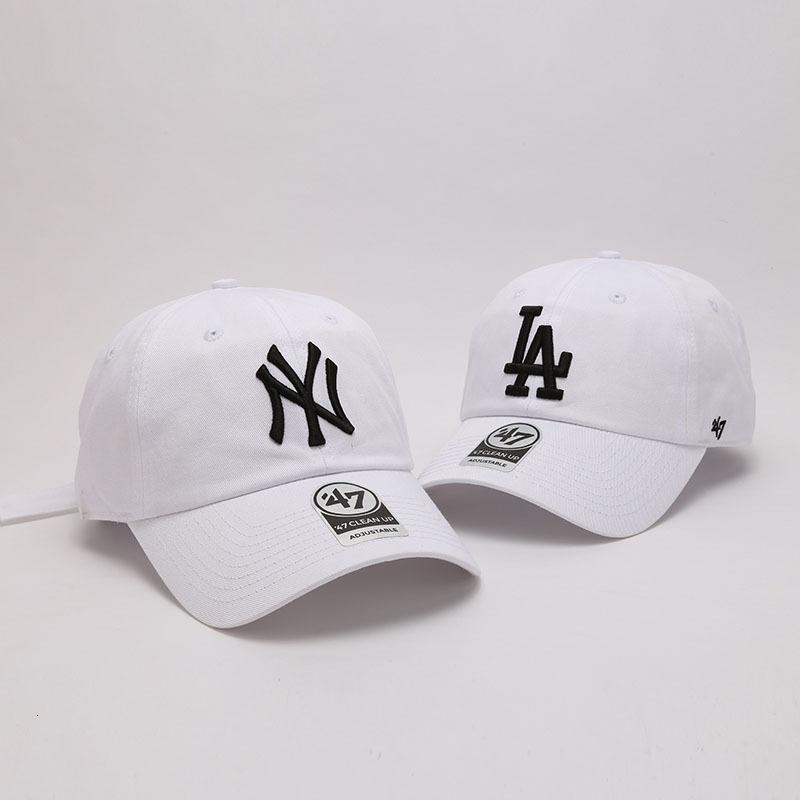 47Brand gorra de béisbol hembra primavera verano blanco suave ny bordado la curvada sombrero de ala casual