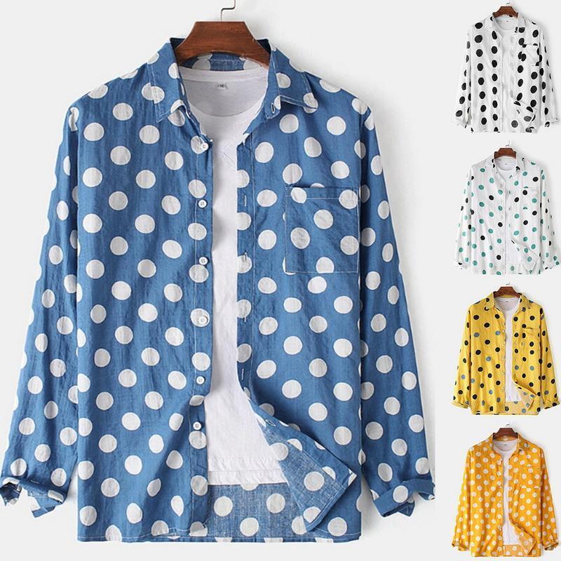 패션 남성용 폴카 도트 셔츠 버튼 슬림 맞는 긴 소매 Boho 휴가 캐주얼 셔츠 Bouse Tops 하와이안