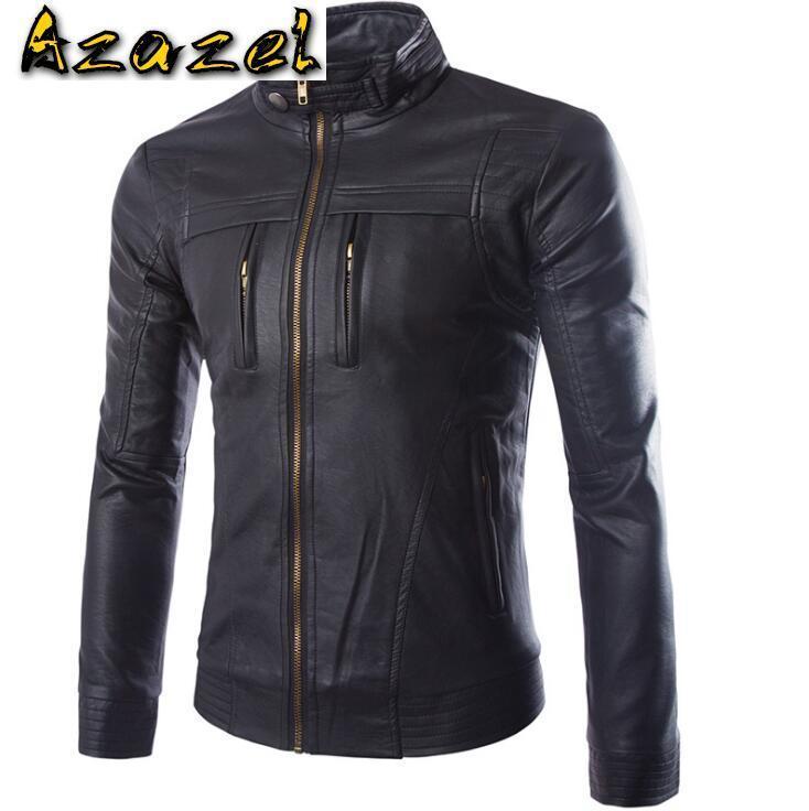 Homens Faux Faux 2021 Coreano Moda Homens Autunm Inverno Casacos De Couro Marrom Mens Slim Black Zipper Motocicleta Casaco Casacos M-4XL