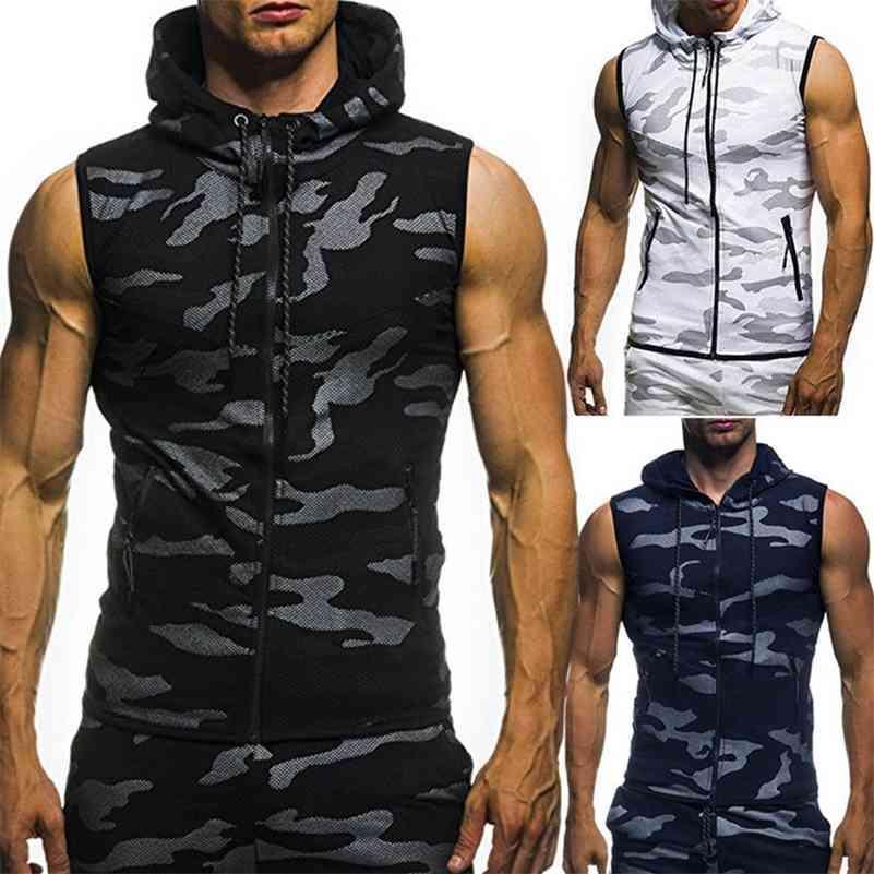 New Men Bodybuilding Tank Tops Ginásios Workout de Fitness Mangas Hoodies Homem Casual Camuflagem Com Capuz Colete Masculino Camo Roupas 210408