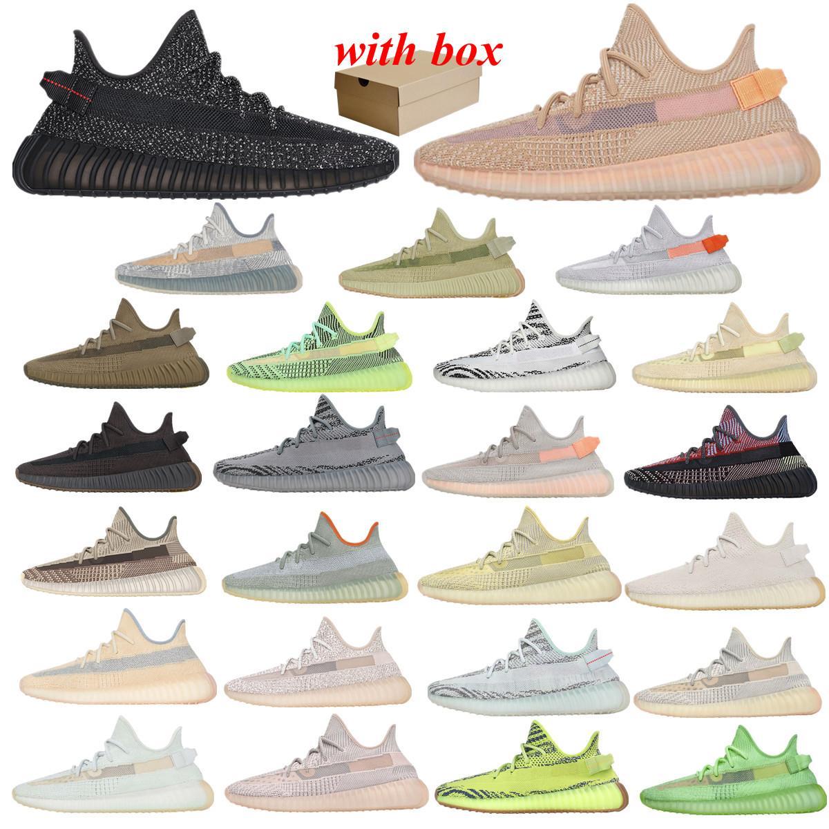 Kanye Static 3M Reflexivo Run Sapatos Casuais Belgua 2.0 Semi Frozen Yellow com Box Designer Homens Mulheres Treinador Sneakers EUR 36-46