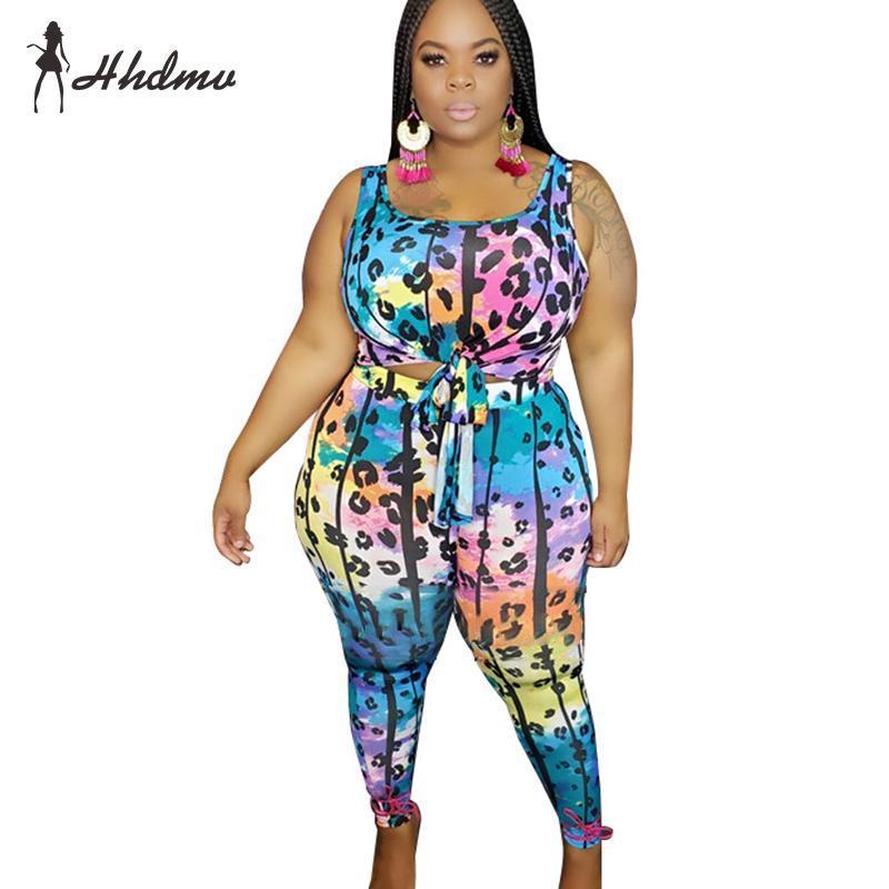 Женщины без рукавов две кусочки Летняя спинка печати набор леди мода лук буксируемая часть топ и длинные брюки женские трексуиты