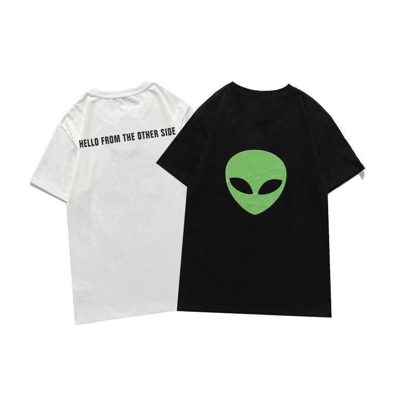 유명한 남성 고품질 T 셔츠 Womens 여름 디자이너 외계인 인쇄 짧은 소매 커플 라운드 넥 티 폴로
