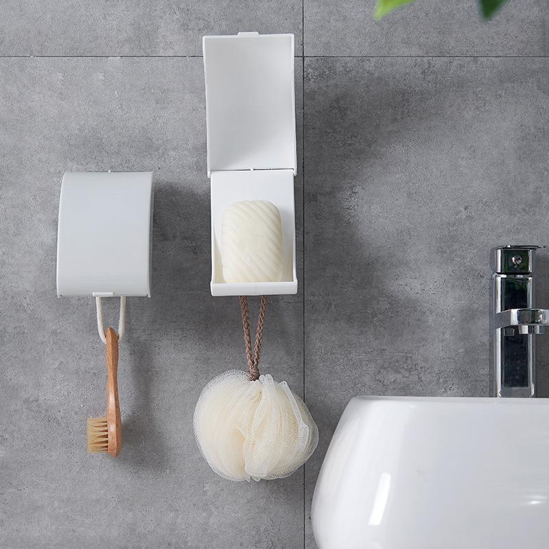 Creative Wall Mounted Soap Holder Shower Bathroom Box Household Sponge Drainage Rack Room Supplies Gadgets Dishes