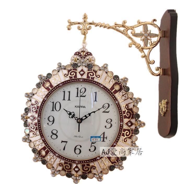 Çift taraflı Büyük 3D Duvar Saati Vintage Ahşap Metal Sessiz Shabby Chic Ironwork Kuvars Saatler Ev Dekorasyonu Reloj Duvar Hediyesi Saatler