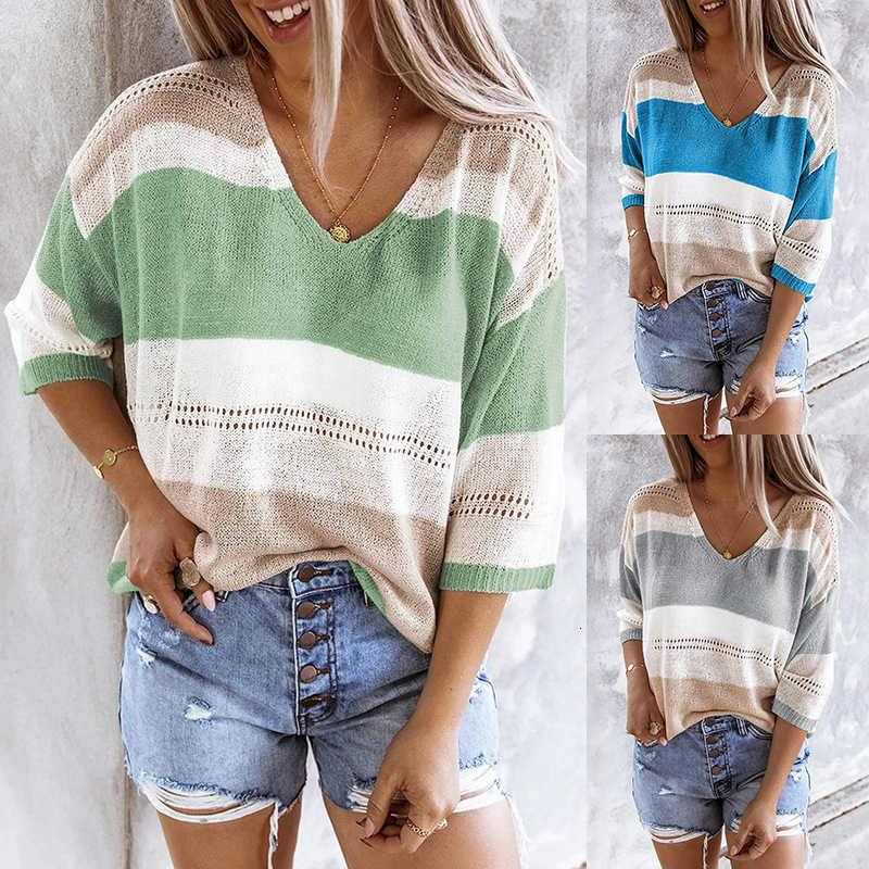 2021 spring and summer beach knitwear sweaters Top Stripe color matching hollow out sweater for women