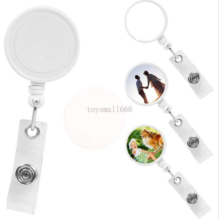 빈 흰색 승화 DIY ID 홀더 이름 태그 카드 키 배지 릴 라운드 단단한 플라스틱 클립 - 온 개폐식 풀 릴