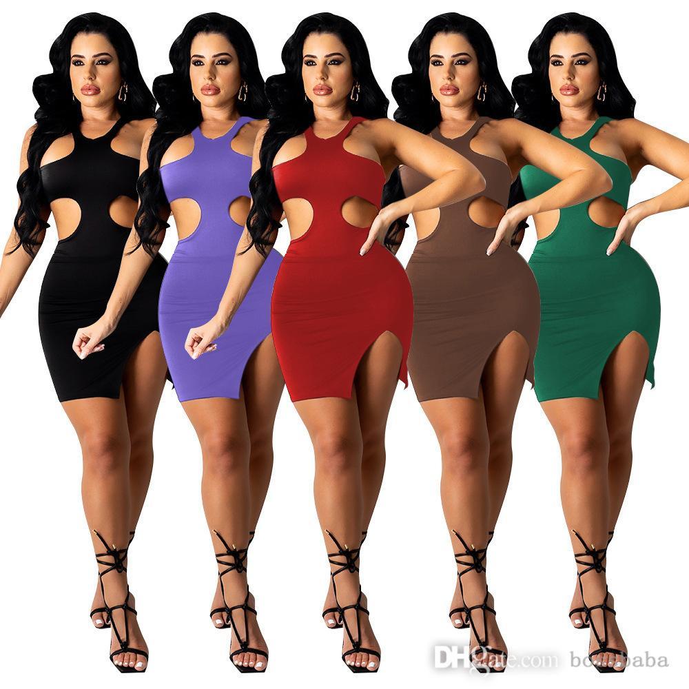 Kadınlar Yüksek Yaka Seksi Moda Rahat Bir Omuz Elbise Tasarımcısı Rahat Seksi Ince Sıkı Bayanlar Etek 823-1
