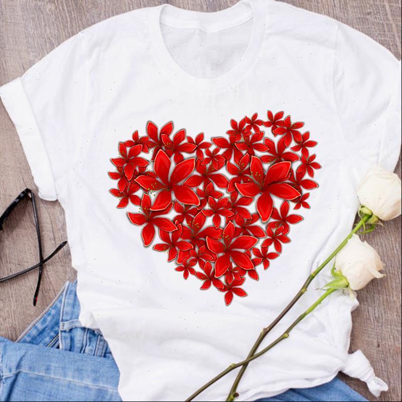Grafische Blume Blumen Herz Frauen Tops Form Paar Süße Liebhaber 90er Jahre Kleidung Weibliche Tees Drucken