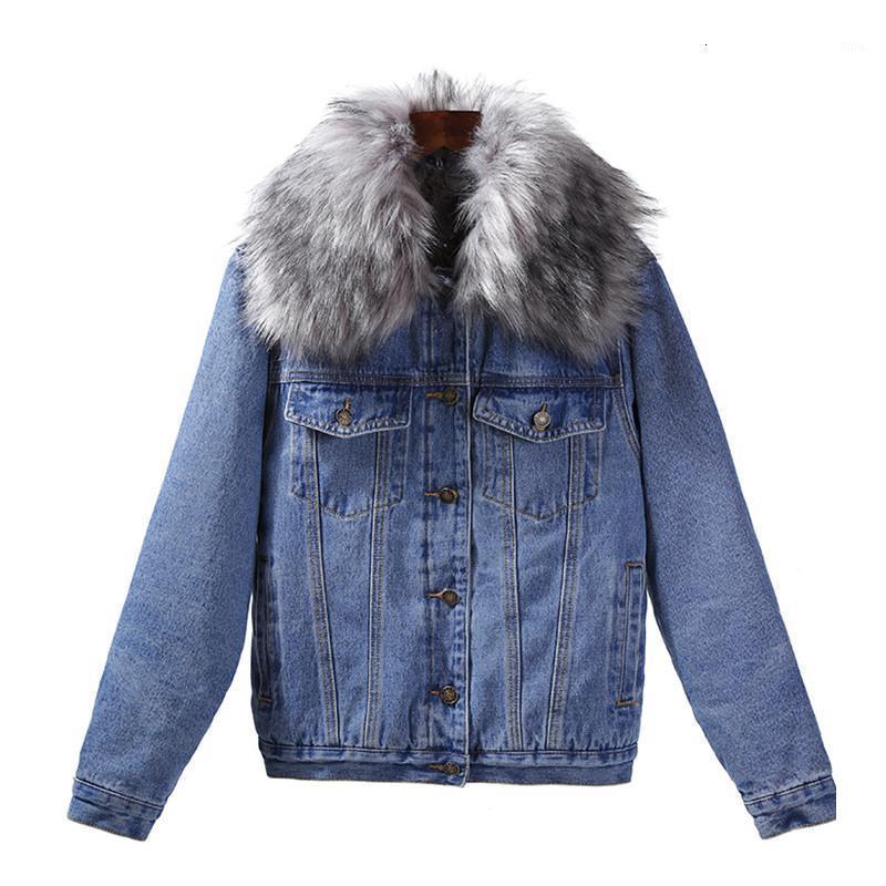 Lammwolle Verdicken Pelzkragen Denim Jacke Winter Warme Frauen Jean Jacken Dame Mantel Langarm Lose Windjacke Weibliche Kleidung1