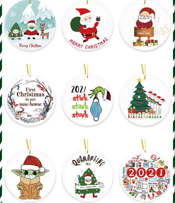 2021 Grinch Cuarentena Ornamento de Navidad Ornamentos colgantes de Navidad Personalizar para la decoración de árbol de Navidad con máscara diseñadora