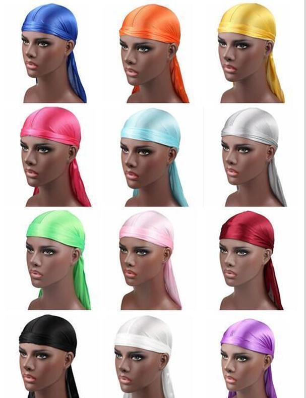 Beaniveskull Caps Мода Мужские Сатин Дургис Bandana Turban Triags Мужчины Шелковистые Дураг Головные Обращающиеся Головные Оборудование Пиратская Шляпа Аксессуары для волос K3637 A32 GA9PS