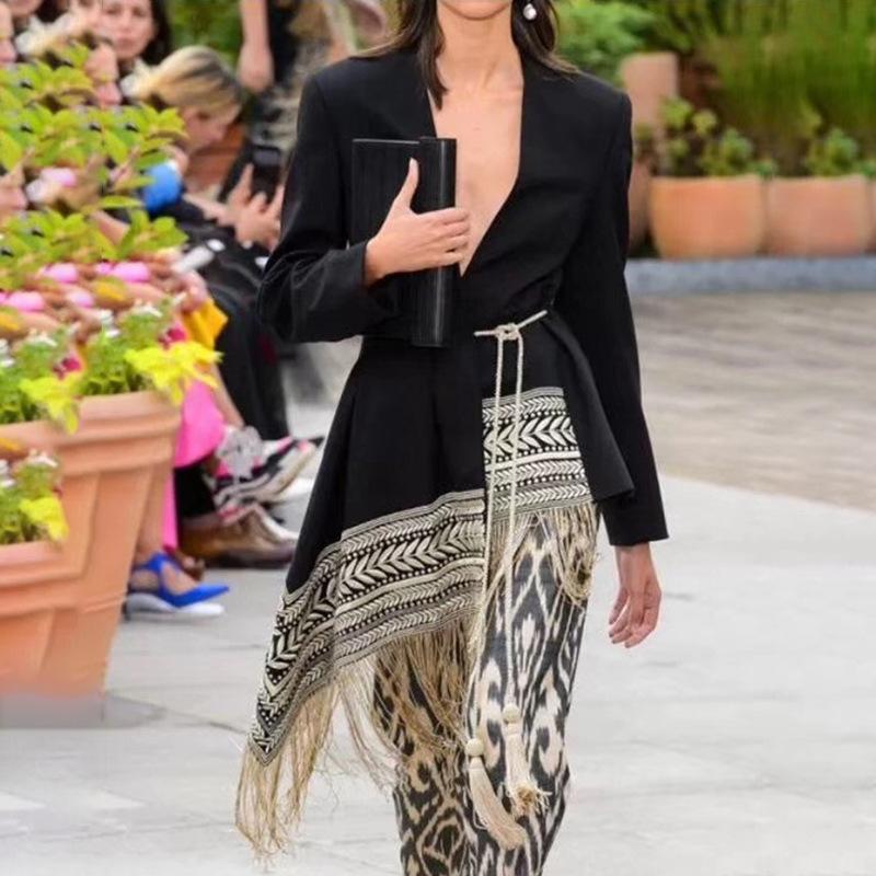 Frauen Blazer Stickerei Jacquard Unregelmäßige FRANDED Saum Taille Schlanker Kleine Anzug