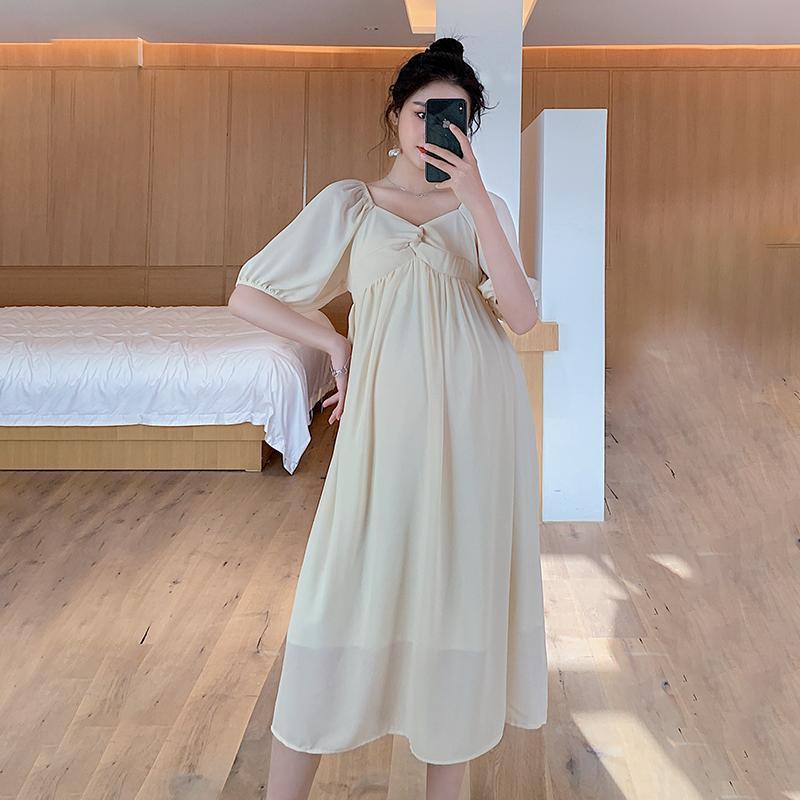 9988 # 여름 한국 패션 시폰 출산 롱 드레스 V 넥 슬림 하이 허리 헐렁한 옷 임신 여성 임신 드레스