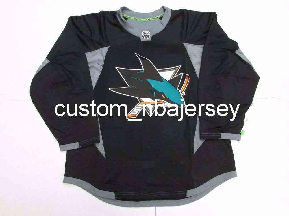 Ricamo San Jose Sharks Black Edge Pratica Hockey Jersey Custom Men's Hockey Jersey Aggiungi qualsiasi nome Nome