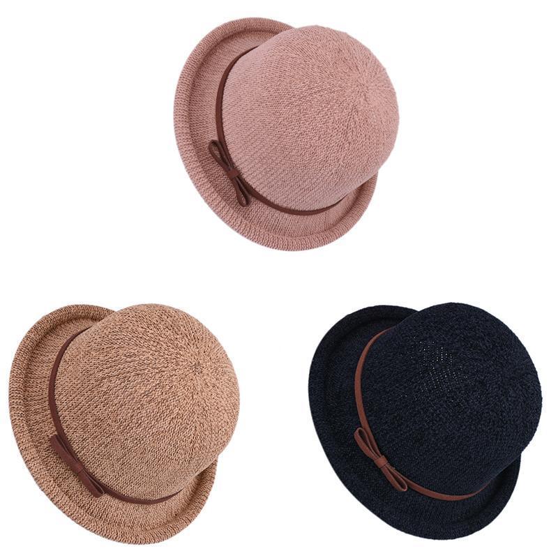 Pamuk ve Keten Balıkçı Şapka Kova Kap Katı Renk Rahat Curling Kadınlar Güneş Geniş Brim Şapkalar