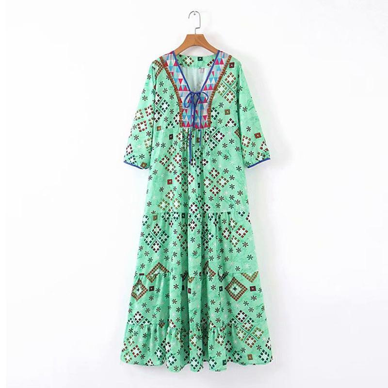 Kadınlar Baskı Elbise Geometrik Lace Up V Boyun Maxi Gevşek D1286 210514