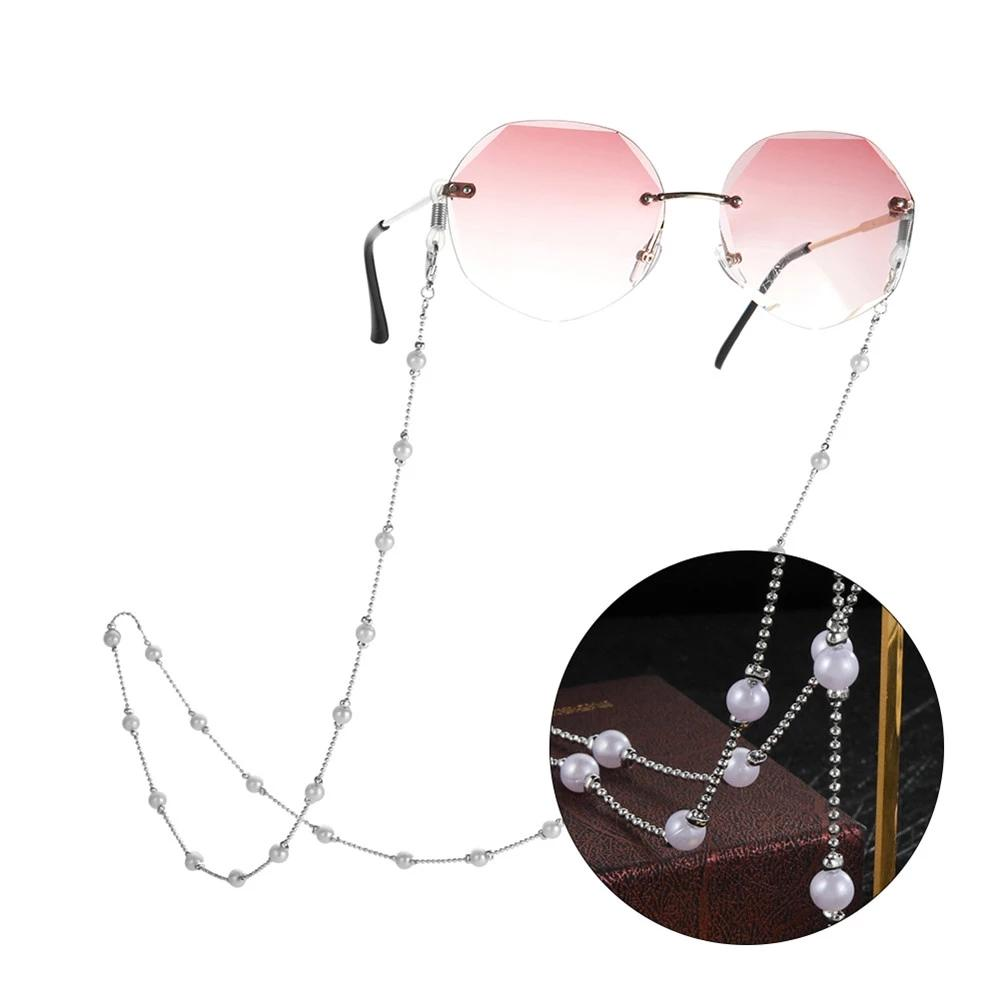 Eyeglasses Chain For Women Beaded Eyewear Sunglasses Lanyards Neck Strap Rope Imitation White Pearl Crystal Necklace Cord