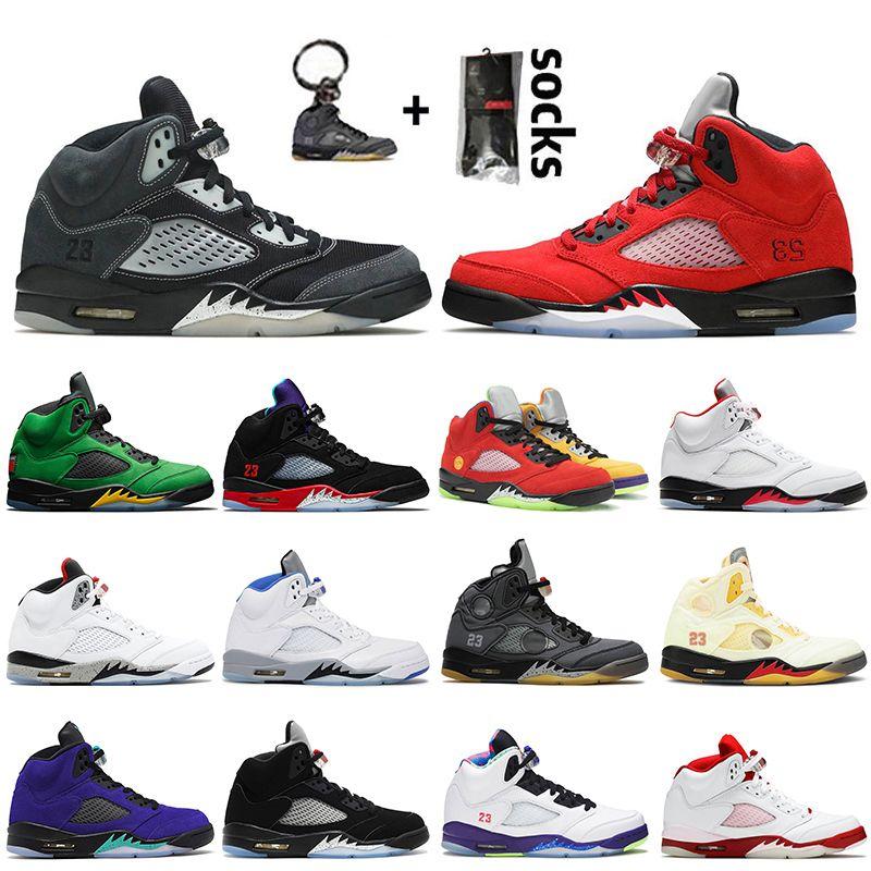 2021 Nike Air Jordan Retro 5 5s Off White Jordan 5 أعلى جودة أحذية كرة السلة للرجال Jumpman Raging Bull Fire Red Oregon Ducks أحذية رياضية للمدربين من العنب البديل