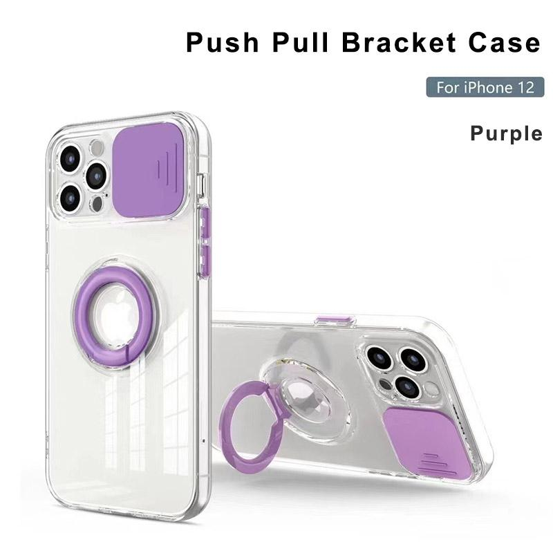 Custodie telefoniche trasparenti per iPhone 12 11 Pro Max XS XR 7 8 Plus Push Pull Window Obiettivo Protezione della fotocamera Copertura con supporto ad anello