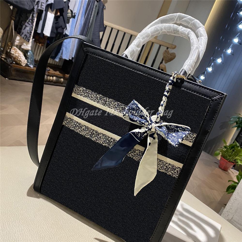 Stickerei buchstaben einkaufen tasche 2021 frauen luxus klassische innere reißverschluss tasche open zwei griff eine schulter kreuz body taschen handtaschen